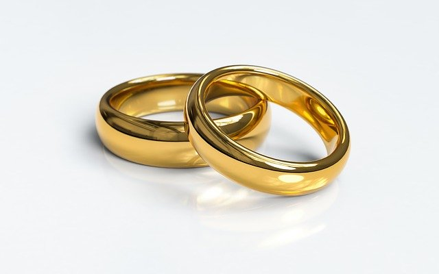 two rings placed on each other on a white background